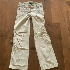 H&M beige cargo pants size small 2 ripped hem